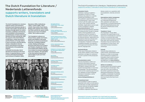 Infosheet Dutch Foundation for Literature