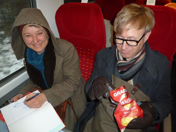 Writers on a cold train