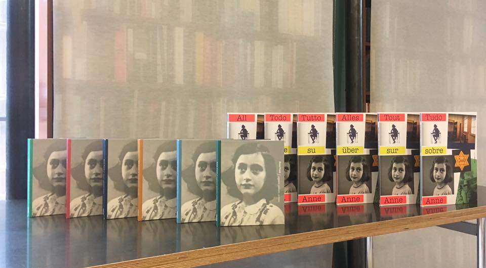 Anne Frank-translations in the library at the Dutch Foundation for Literature